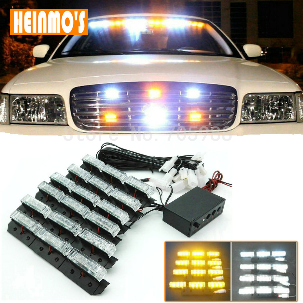 6*9 LED Emergency Vehicle Strobe Flashing Lights 54 LED Front Deck/Grille Light or Rear light Auto Warning Lamp Red White <br>