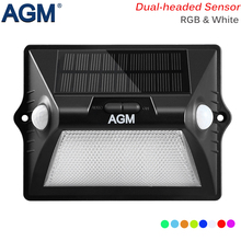 AGM LED Solar Light PIR Motion Sensor Solar Garden Lamp Outdoor 12 Leds Dual-headed Power Security Street Wall Sunlight For Path(China)