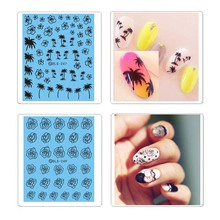 Black Coconut Palm Tree Flowers Water Transfer Nail Art Sticker Decal Decoration M02158