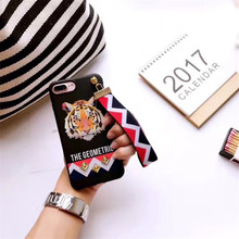 Fashion Soft Cartoon Tiger Rabbit Studded Rivet Cover Case For iphone 7 case Wrist Strap Phone Case For iphone 6 6S PLus coque(China)
