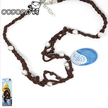Moana Ocean Blue Romance Rope chain Necklaces blue Stone necklaces & pendants Action Toys necklace for Gilrs Birthday Gifts