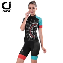 CHEJI Women's Cycling Jersey Bicycle Shorts Cycling Clothing Sets Roupa Ciclismo Racing Bicycle Outdoor Team Sportwear CC1533
