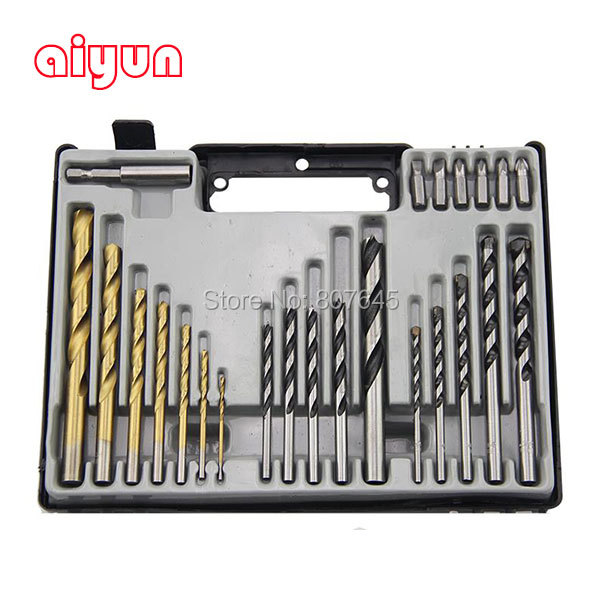 24pcs/set drill bits set impact masonry + wood flat drill + twist drill bit for metal woodworking<br>