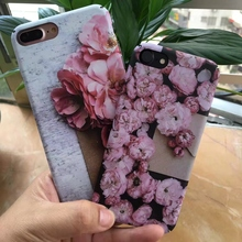 Fashion Latest Ink Flowers Case For iphone 5 5s 6 6S Plus 7 7Plus case Lover Rose Peach Blossom phone cover hard Matte Cover