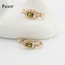 PATAYA Natural Olive Green Earrings 585 Rose Gold Natural Cubic Zircon Fine Jewelry Short Eardrop Accessories Vintage Earrings(China)
