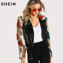SHEIN Faux Fur Sleeve and Collar Biker Jacket Autumn Womens Jackets and Coats Black Zipper Ladies Leather Jacket(China)