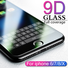 9D protective glass for iPhone 6 6S 7 8 plus X glass on iphone 7 6 8 X R XS MAX screen protector iPhone 7 6 screen protection XR(China)