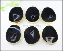 3pcs Nature Quartz Druzy Pendant ,Crystal Agate Slice gem stone Drusy Pendant ,Gold Plated in Black color Jewelry findings