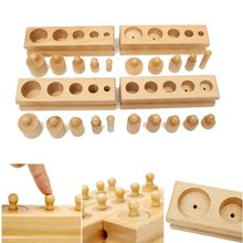 Knobbed Cylinder Blocks Family Set Wooden Montessori Educational Toy Gift For Children(China)