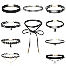 Best Deal New Fashion 10 PCS Women Black Rope Choker Necklace Set Stretch Velvet Classic Gothic Lace Choker Chain(China)