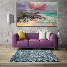 2017 New Artist Painting Handmade High Quality Sky Oil Painting On Canvas Wholesale Unique sea Abstract Landscape Paintings