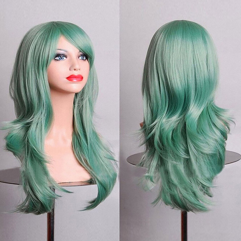 SHANGKE-Femmes-Synth-tique-Cheveux-Longs-Ondul-s-Rouge-Blonde-Rose-Vert-Brun-Violet-Cosplay