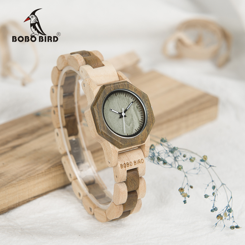BOBO BIRD Newest WM25 Nature Wood Watch For Women Creative Design Octagon Quartz Watches Gift Box Accept OEM relogio feminino<br>