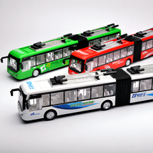 1:48 Scale Double carriage bus Mini Children sound big city bus light pull back metal diecast model collection Car, Jsuny toy(China)