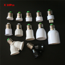 10Pcs/Lot Fireproof Material E27 to B22 E12 G9 GU10 MR16 E14 E17 E40 G24 2 E27 E27 Extender Lamp Base LED Bulb Holder Converter