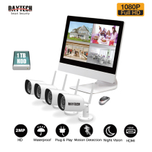 DAYTECH Surveillance System NVR Kit 1080P 2MP LCD Monitor NVR Kit HDD IR Night Vision Waterproof Wireless 4CH Security IP Camera(China)