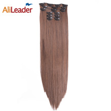 AliLeader Products Heat Resistant Synthetic Clip In Hair Extensions Long Straight 22 Inch 16 Clips 6 Pcs/Set False Hair Pieces