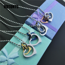 STN115 Fashion Double Heart Necklaces Jewelry Stainless Steel Double Circle Pendant Necklace For Lover Silver/Gold/Rose/Blue