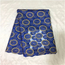 Free shipping Modern design royal blue French lace African embroidery tulle lace fabric for clothes 5 Yards/piece(China)