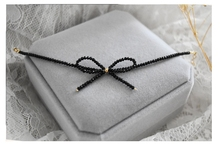 Lii Ji Natrual Black Spinel Bowknot 925 sterling silver 18K Gold Shining Anklets Women Gift