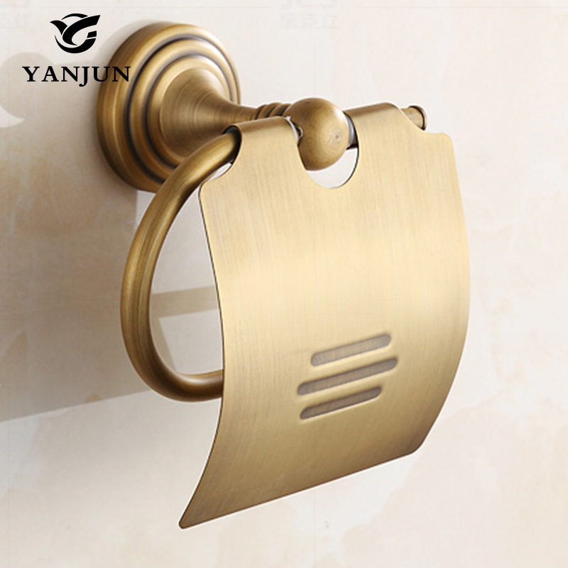 Yanjun True Quality Copper Toilet  Paper Roll Holder With  Flap  Wall Mounted Paper Towel Holder Bathroom Accessories YJ-8835<br><br>Aliexpress