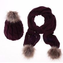 New Designer Women's Scarves and Wraps Winter Warm Women Fashion knitted Scarf and Hat Set Crochet Cap Beanie Ski Hat(China)