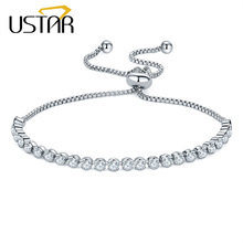 USTAR Adjustable Tennis Bracelets for women AAA Cubic Zirconia Silver color chain Bangle & Bracelet femme Wedding Jewelry(China)