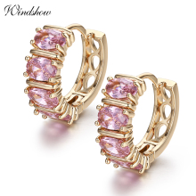6Colors Gold Color Cluster Oval CZ Stones Small Loop Round Huggies Hoop Earrings for Women Jewelry boucle d'oreille femme Aros(China)