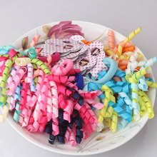 1lot=2pcs Children Colorful Curler Gum for Hair Wave Roll Ribbon Headband Ponytail Holder Girls Noodles Shape Elastic Hair Bands(China)