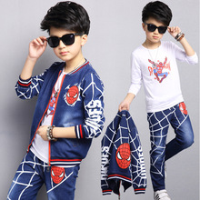 Boys Spider-man Tracksuits 2017 Children Clothing Sets Kids Long Sleeve Outerwear +T-shirt + Pants Cartoon 3 Pieces Suits 3-12 T