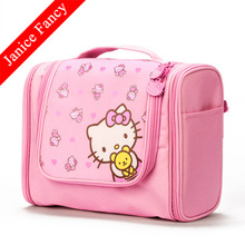 Clearance Sale Fashion Cartoon Designer Hello Kitty Toiletry Wash Pouch Travel Makeup Organizer Cosmetic Bag 25*10*18cm