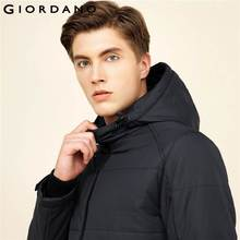 Giordano Men Jacket Waterproof Hood Quilted Cotton Jacket Warm Outwear Stand Collar Coat Brand New Male Clothing(China)
