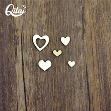 QITAI 250Pcs/Box Mini Heart Shape Wooden Crafts Home Decoration Decor Craft Card Varieties Of Specifications For Baby Room Wf159