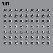 YJZT 1.9CM* 1.9CM 7X Personality Lnterest 63 HOLES FAKE BULLET HOLE Reflective Car Sticker Motorcycle Parts C1-7190