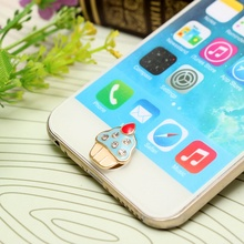 1 PCs For iPhone 4/5/6s/iPad/iPod Touch Stylish Cute 3D Ice Cream Pattern Home Button Stickers Decorative Buttons Wholesale