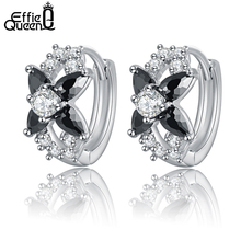 Effie Queen Women Stud Earring with AAA Black Austrian CZ Crystal Brilliant Earrings for Ladies New Arrival DDE12(China)