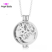 Pryme Flower Design Hollow Essential Oil Locket Jewelry Angel Bola Pendant Long Chain Necklace for Women Gift L114(China)
