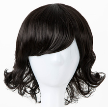 Fei-Show Synthetic Heat Resistance Fiber Children Wigs Inclined Bangs Black Hair Short Curly Hairpiece For 50 Head Circumference