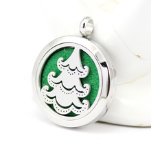 30mm Stainless Steel Cartoon Christmas Trees Aromatherapy/Essential Oil Diffuser Pendant Necklace Perfume Locket Wholesales(China)
