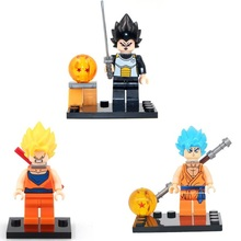 3pcs/lot Dragon ball blocks Son Goku Tenshinhan Muten-Roshi small building blocks Comics Assemble DIY bricks toys Hot sale