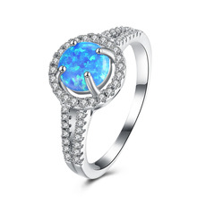 Wholesale Exquisite Silver Light Blue Opal AAA Clear Zircon Rings for Women Memorable Anniversary Fancy Jewelry Size 6 7 8 9(China)
