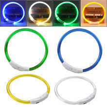 New Arrival Rechargeable USB Waterproof LED Luminous Light Band Safety Pet Collar blue/white/yellow/green