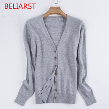 BELIARST New Spring and Autumn Loaded Small Star Buckle Cashmere Cardigan Women underwear V neck Sweater Slim Sweater