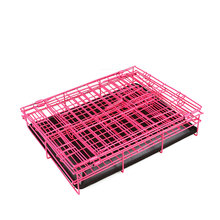 2 Door Pet Dog Metal Collapsible Wire Cage Crate Kennel with Plastic Tray Black