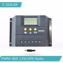 PWM 50A Solar Charge Controller 12V/24V Auto Solar Panel Battery Charge Regulator with Big LCD Display CM5024Z