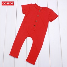 COSPOT Newborn Summer Romper Baby Boys Girls Cotton Rolled Sleeve Jumpsuit Kids Plain Fashion Jumper Infant Clothes 2017 New 33D(China)