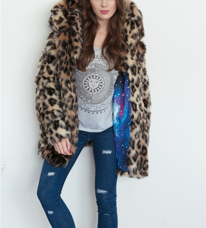 2017 autumn and winter new foreign trade popular animal ear hat imitation fur coat female wild long coat warm jacket2