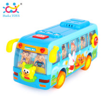 HUILE TOYS 908 Baby Toys Bump & Go Shaking School Bus with Music & Flashing Lights Electric Toys for Children Birthday Xmas Gift(China)