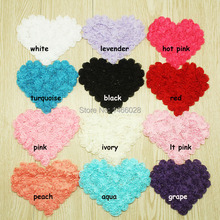 60 pcs/lot , 4.75 ''  chiffon rose heart   headbands shabby chiffon flowers