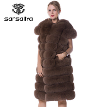SARSALLYA real fur long vest fox fur vest silver fox fur vest rabbit fur vest A variety of color(China)